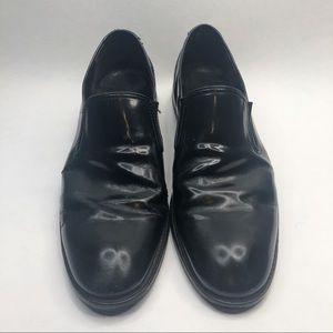 John Varvatos Mens Black Shiny Leather Loafers